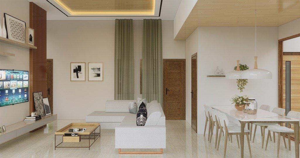 interior ruang keluarga dan ruang makan modern