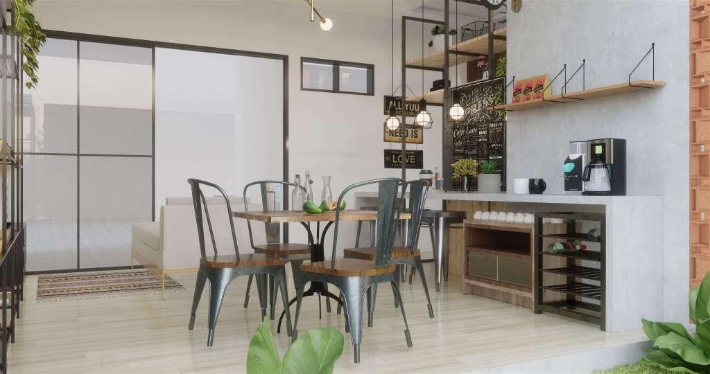 desain dapur dan ruang makan gaya industrial