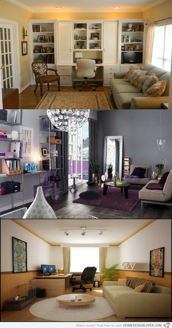 Home Office Combined with Living Rooms for Small Spaces ...