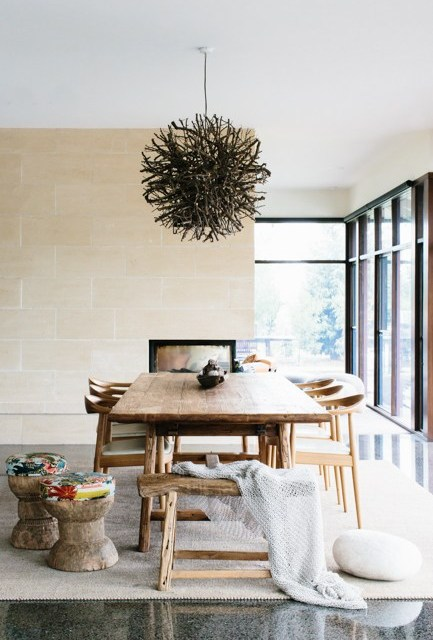 High Style Low Cost: Natural Elements in Dining Room