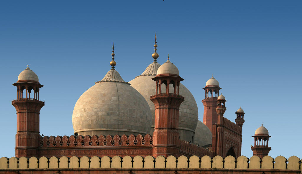 Minarets And Domes Atop The Badshahi Mosque In Lahore