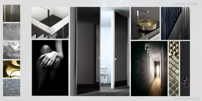 Yam Studios: dark, urban, slick, minimal, luxurious, masculine.