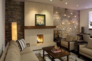 Apartment interior design with accent wall