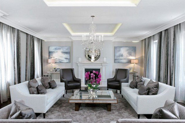 Grey and Off White Living Room Designs