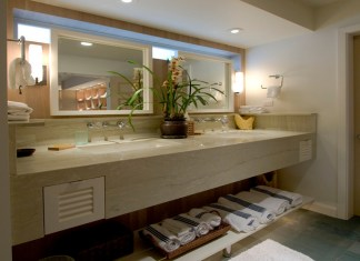 Amazing Bathroom Design With Wall Mounted Counter