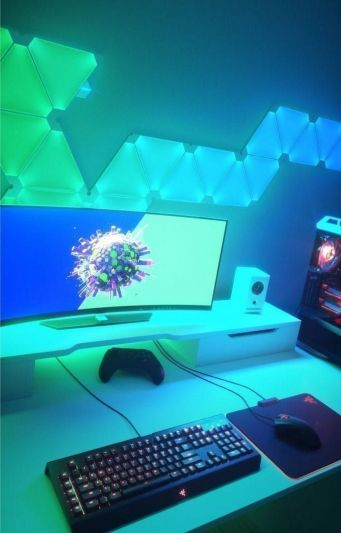 Aurora Its Not Evolutionary Its Revolutionary ☼ Via Nanoleaf #Gaming Room Setup #Quarto Gamer #Playstation Room #xbox Room