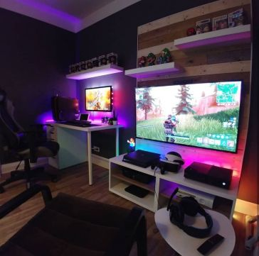 Best Video Game Room Ideas For Gamers Guide ☼ Via Unscripted360 #Gaming Room Setup #Quarto Gamer #Playstation Room #xbox Room-5