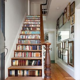 Bookcase Steps Stair Stickers ⊶ Via Thetreasurethrift #BookStorage