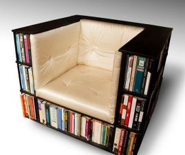 Library Chair Luxury Club Chair Bookcase ⊶ Via Etsy #BookshelfIdeas