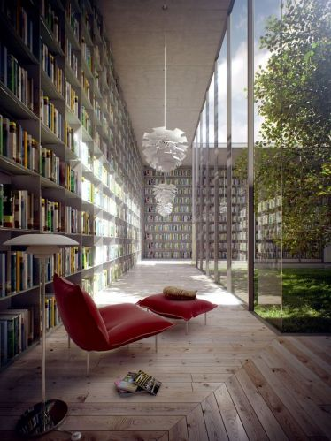 Library Inspiration ⊶ Via Home-designing #BookshelfIdeas