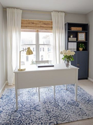 Navy And Grey Office Makeover Reveal - Angelamariemade.com