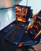 Orange Gaming Setup ☼ Via Topgamingchair #Gaming Room Setup #Quarto Gamer #Playstation Room #xbox Room