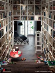 Space Saving Home Library Design ⊶ Via Home-designing #HomeLibraryDesign