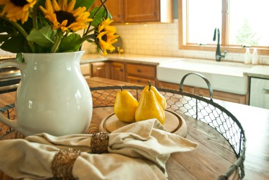 Sunflowers and Pears add a pop of yellow