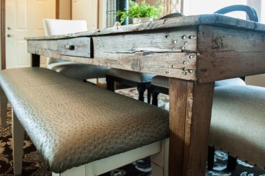 After: Ostritch-look upholstered Dining Bench