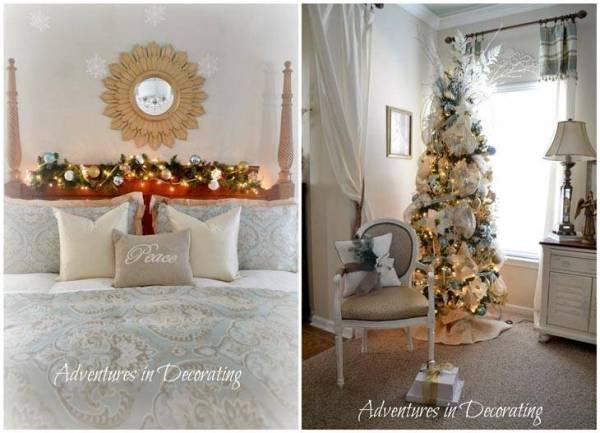 Новогоднее украшение спальни | Фото красивых интерьеров