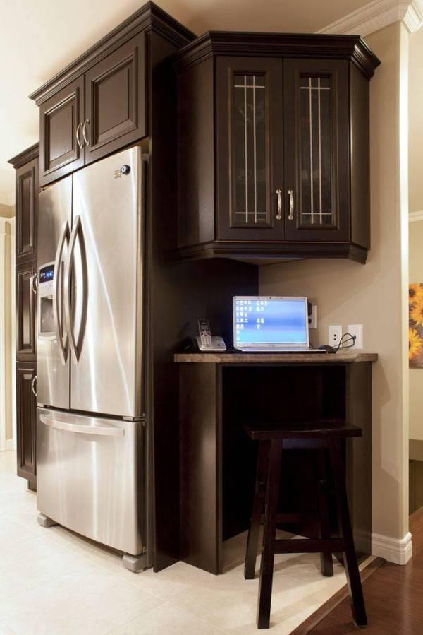 Рабочий уголок на кухне | Фото красивых интерьеров