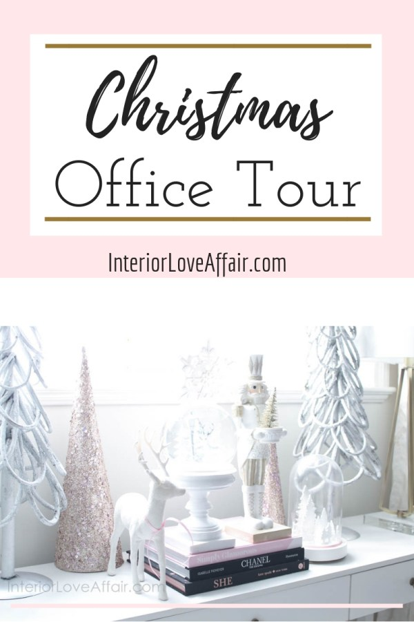 blush white gold christmas decor, office decor