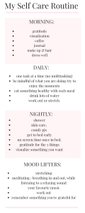 An easy to follow self care routine