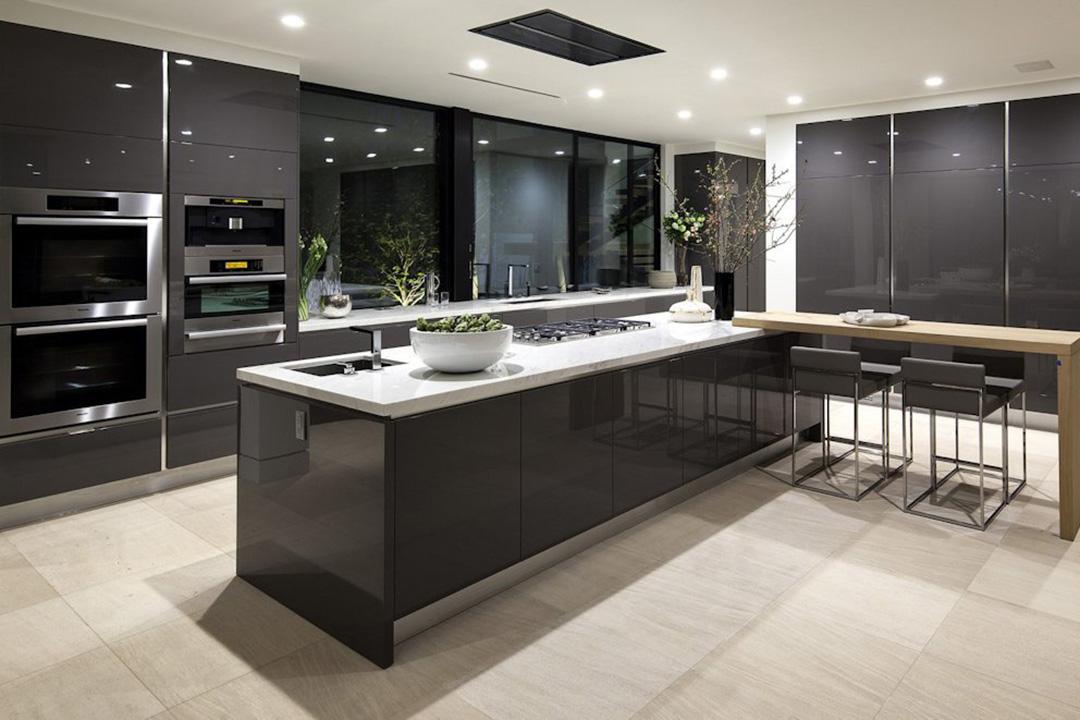 Modern Black Island Kitchen Design © Interior Renovation