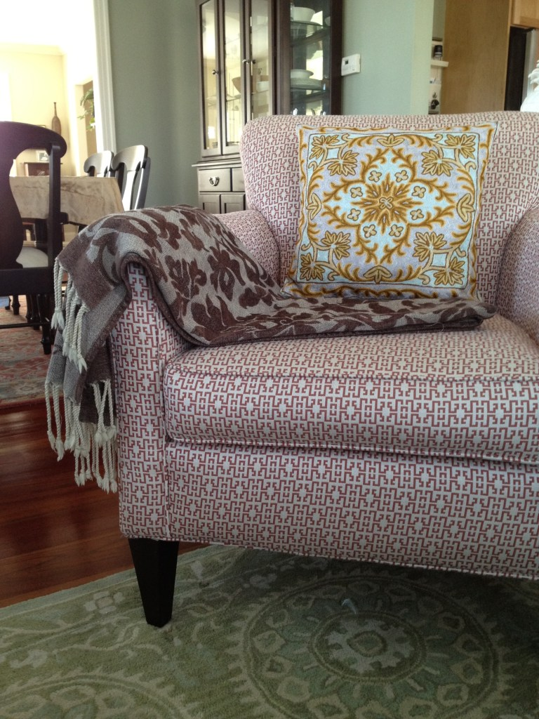 Armchair with Pillow and Throw