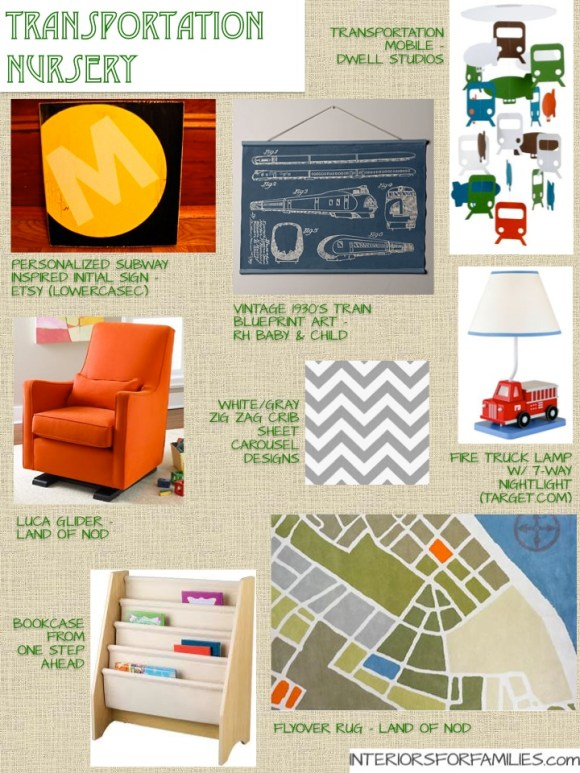 Transportation Nursery Theme Mood Board