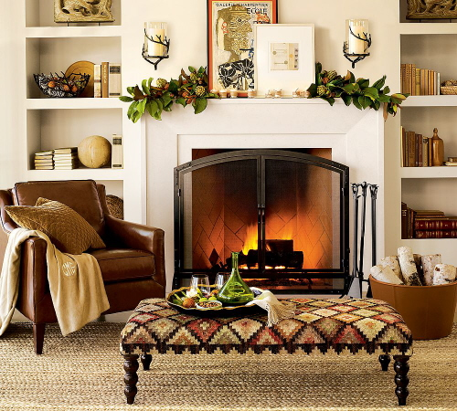 Fall Mantel With Garland