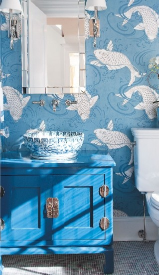 Derwent Koi Wallpaper Powder Room