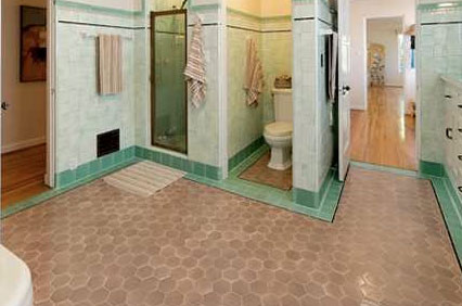 Excellent Pink Beige Tile Floors With Downplay A Pink Tile Bathroom
