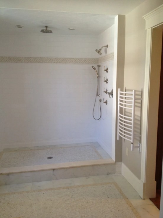 Master Bath Shower - Crema Marfil & Statuary Marble, Benjamin Moore Revere Pewter paint