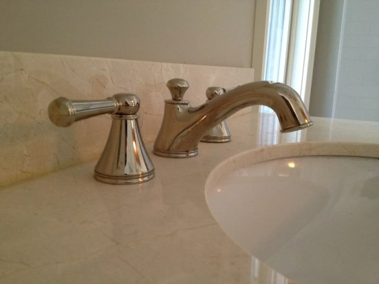 Polished Nickel Faucet, Crema Marfil countertop, Benjamin Moore Revere Pewter paint