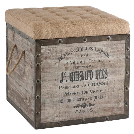 Burlap Seat Storage Ottoman - 10 High-Style Storage Ottomans | Interiors For Families