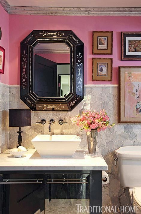 Pink Powder Room - via Interiors For Families