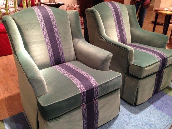 Velvet Chairs with Purple Greek Key Trim @ Wesley Hall | #hpmkt Spring 2014 | via Interiors For Families