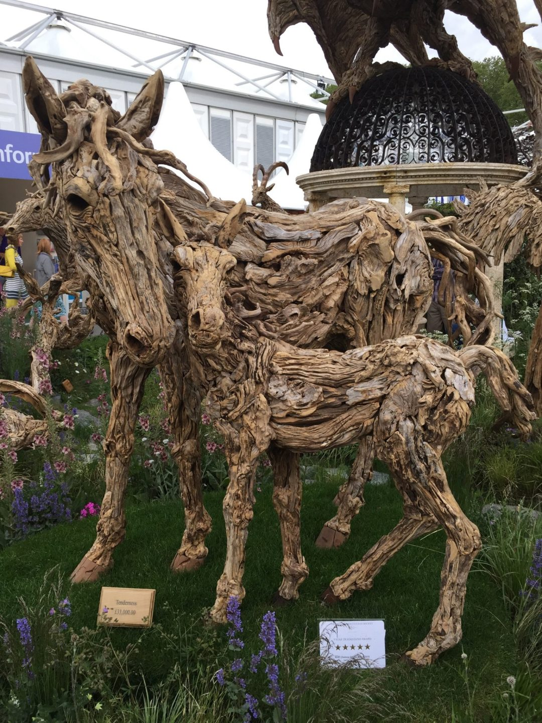 Driftwood Horse and Foal Sculpture Chelsea Flower Show