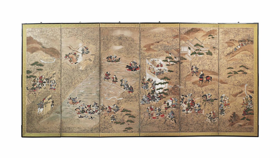 A JAPANESE SIX-FOLD PAINTED PAPERSCREENEARLY 20TH CENTURY
