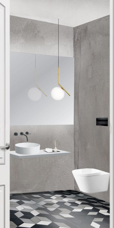 Entrance focus point - beautiful accessories, sink, mirror and lamp @interiortastic