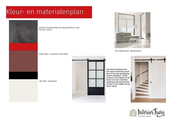 kleur- en materialenplan tussenwoning