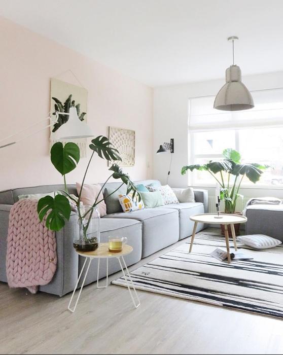 grijze bank scandinavisch roze muurkleur @lieks_home