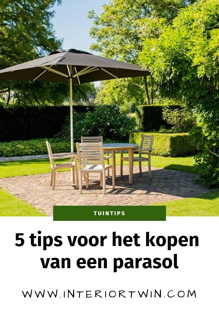 5 tips voor het kopen van een parasol: afmetingen, kleur, parasolvoet, materiaal en vorm: rechthoek, rond of vierkant?