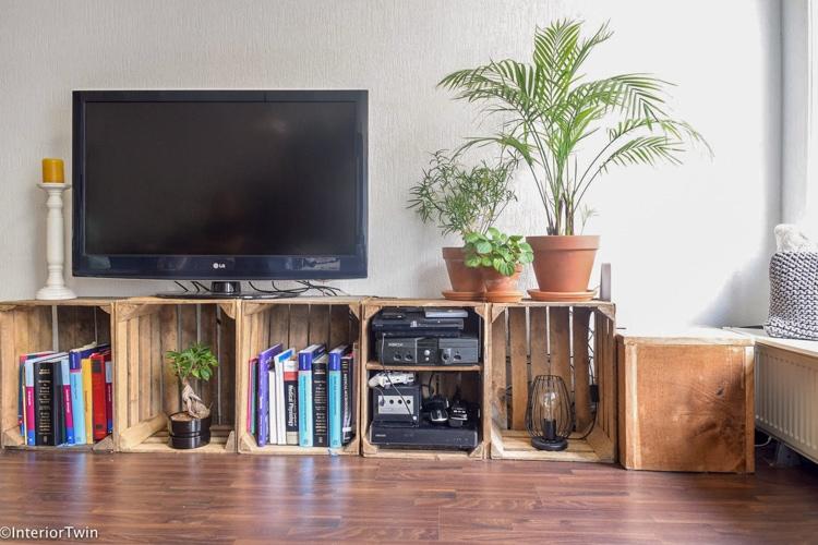 tv meubel van fruitkistjes