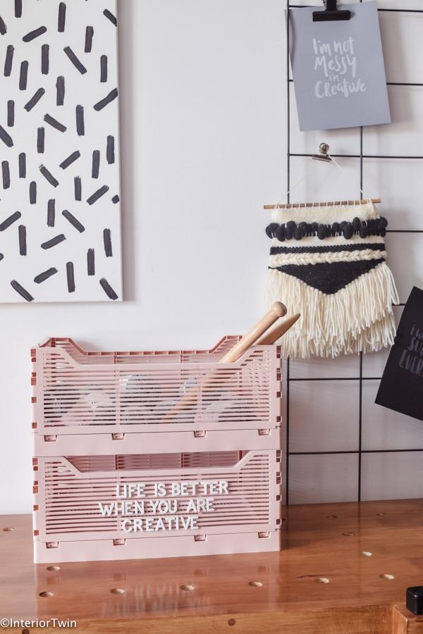hema letterkratjes roze diy creatieve spullen opbergen