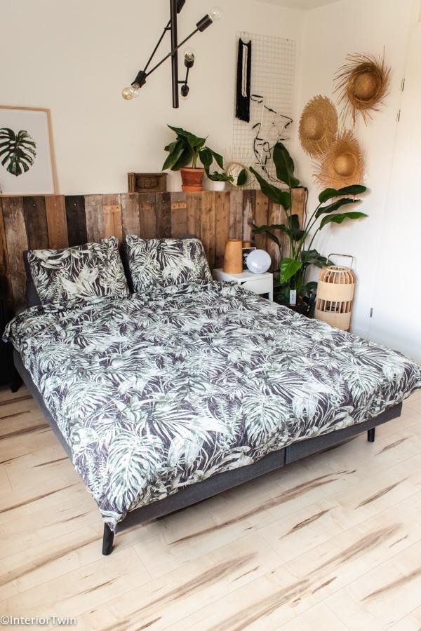 slaapkamer urban jungle bladeren beddengoed