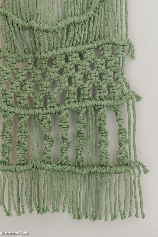 groen macrame wandkleed muurhanger details 2