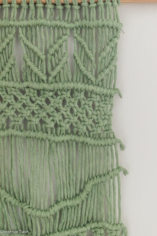 groen macrame wandkleed muurhanger details