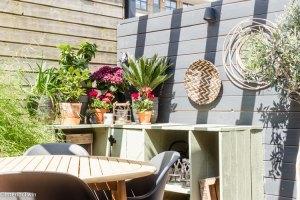 planten in bloempotten tuin