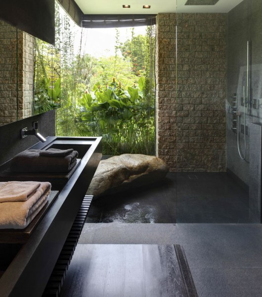 bathroom with vertical garden Gorgeous Vertical Garden House by Aamer Architects