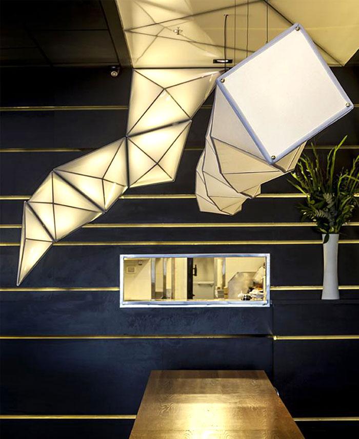 Sushi Restaurant With Origami Lights InteriorZine