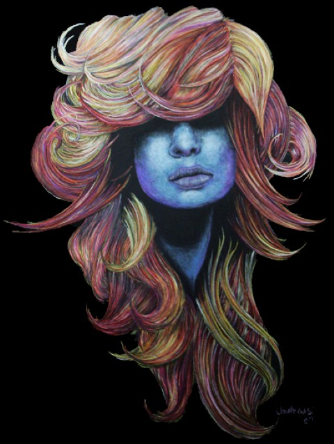 hair colored pencil watercolor keena wolff las cruces artist