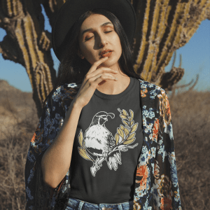 Official Skulls and Succulents T-Shirt - Amazing Apparel for Desert Dwellers wild game Adorable Bird looking for his babies while sitting in a tree. Great gift for anyone who loves ornithology. Cool trendy tree branch and gold leaves leaf funny beak feathers and claws